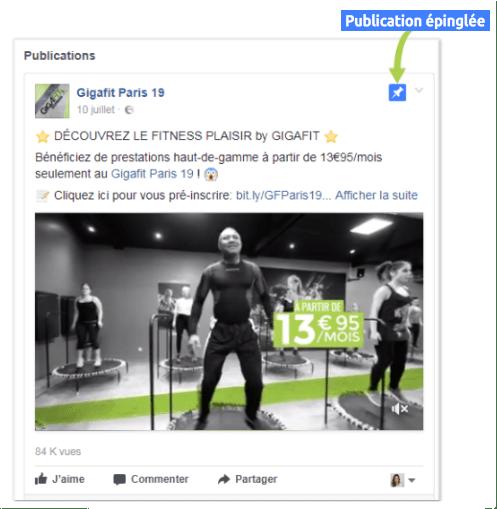 épingle-d'une page facebook